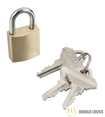 Medium thick padlock 25-Brass,Self locking